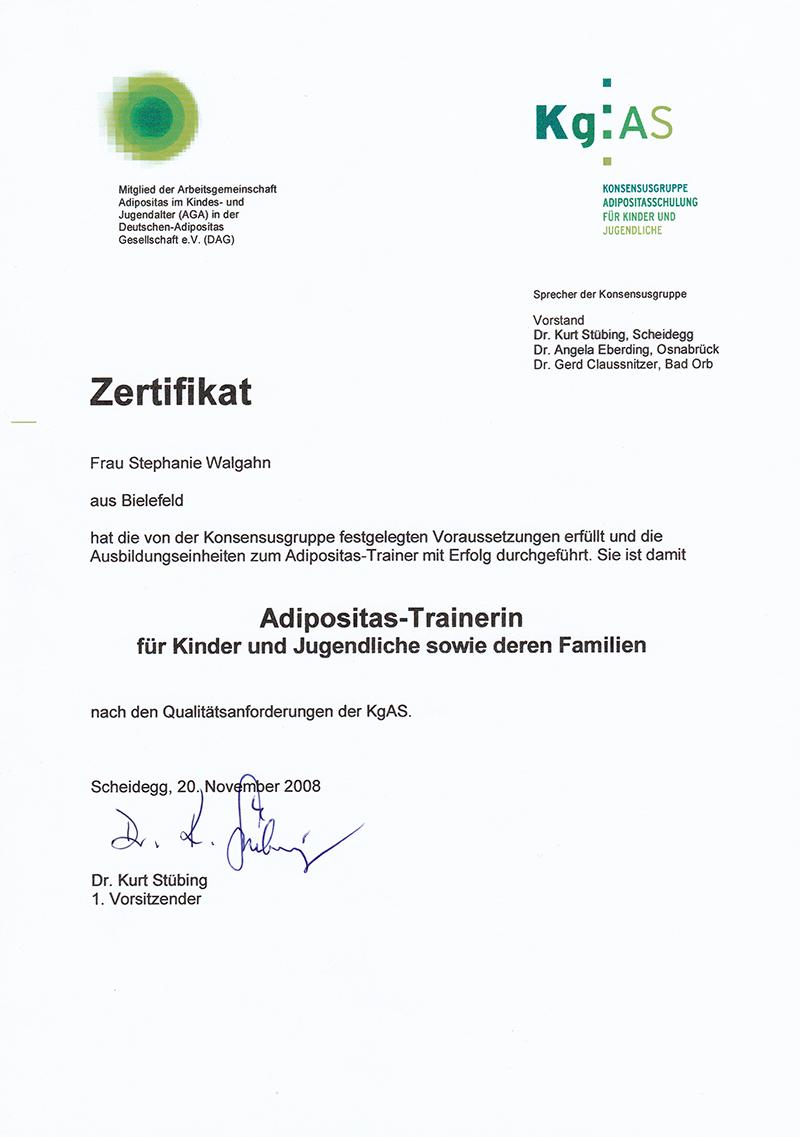Zertifikat Adipositastrainer