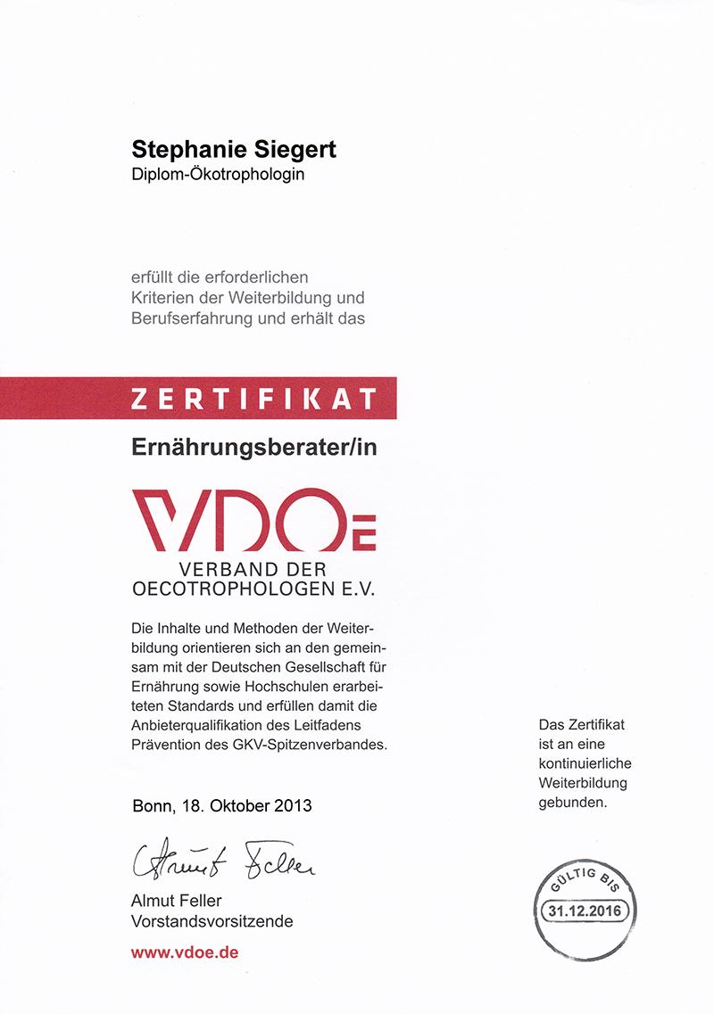 Zertifikat VDOE